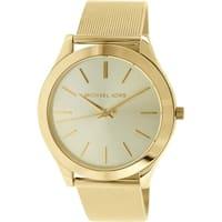 Michael Kors Women's Slim Runway MK3282 Gold Stainless-Steel Quartz Watch with Gold Dial