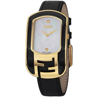 Fendi Women's F311434511D1 'Chameleon' Mother of Pearl Diamond Dial Black Leather Strap Watch