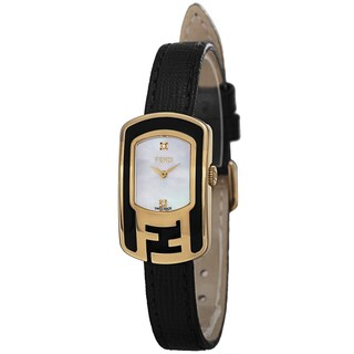 Fendi Women's F311424511D1 'Chameleon' Mother of Pearl Diamond Dial Black Leather Strap Watch