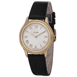 Fendi Women's F250434011 'Classico' White Dial Black Leather Strap Goldtone Watch