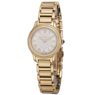 Fendi Women's F251424000 'Classico' White Dial Goldtone Stainless Steel Watch