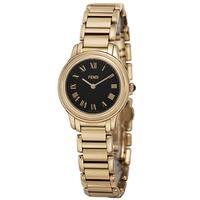 Fendi Women's  'Classico' Black Dial Goldtone Stainless Steel Watch