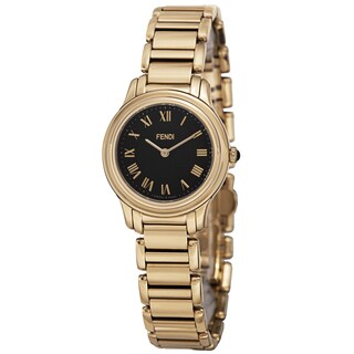 Fendi Women's F251421000 'Classico' Black Dial Goldtone Stainless Steel Watch