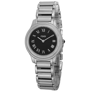 Fendi Women's F251031000 'Classico' Black Dial Stainless Steel Swiss Quartz Watch