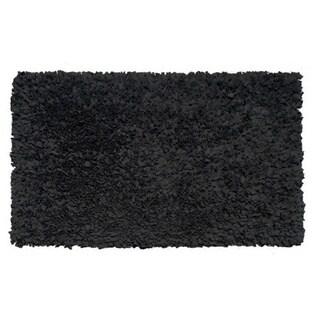 Hand Shag Rug Shaggy Raggy Black Cotton Jersey Area Rug - 2'8 x 4'8