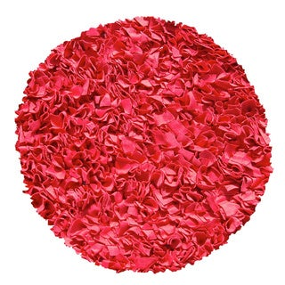 Red Shaggy Raggy Round Rug