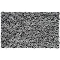 Hand Shag Rug Shaggy Raggy Grey Cotton Jersey Area Rug - 2'8 x 4'8