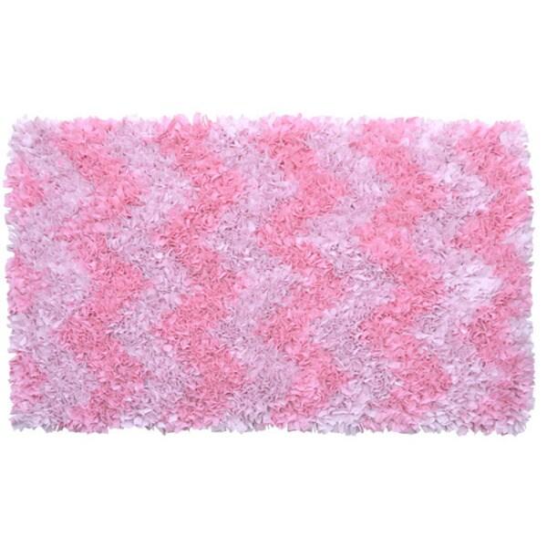 Shop Hand Shag Rug Shaggy Raggy Pink Chevron Polyester