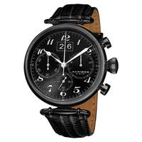 Akribos XXIV Men's Chronograph Black Leather Strap Watch