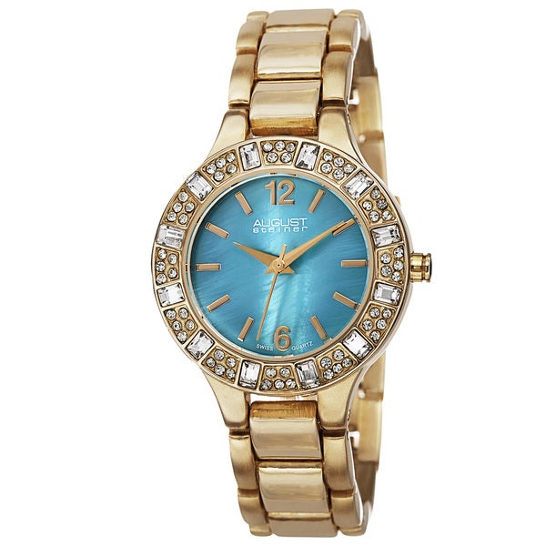 August Steiner Women's Swiss Quartz Mother of Pearl Dial Gold-Tone Bracelet Watch