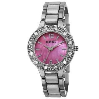 August Steiner Women's Swiss Quartz Mother of Pearl Dial Silver-Tone Bracelet Watch