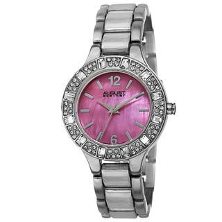 August Steiner Women's Swiss Quartz Mother of Pearl Dial Silver-Tone Bracelet Watch|https://ak1.ostkcdn.com/images/products/9612937/P16798377.jpg?impolicy=medium