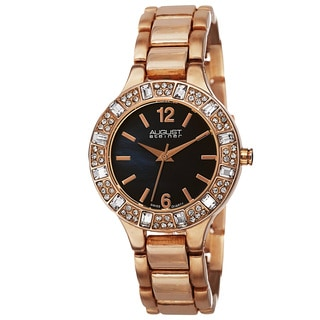August Steiner Women's Swiss Quartz Mother of Pearl Dial Rose-Tone Bracelet Watch