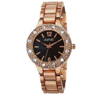 August Steiner Women's Swiss Quartz Mother of Pearl Dial Rose-Tone Bracelet Watch