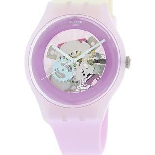 Swatch Women's Originals SUOP101 Two-Tone Rubber Swiss Quartz Watch with Pink Dial