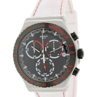 Swatch Men's Irony YVS407 White Rubber Swiss Quartz Watch with Black Dial