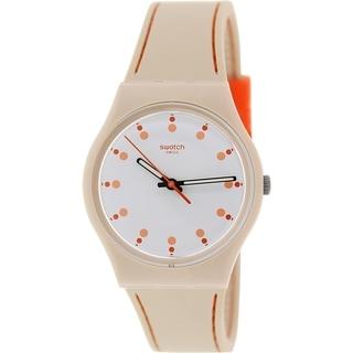 Swatch Women's Originals GT106T Beige Silicone Swiss Quartz Watch with White Dial