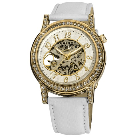 Akribos XXIV Women's Crystal Accented Open Heart Automatic Skeleton Satin White Strap Watch