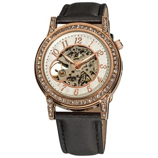 Akribos XXIV Women's Crystal Accented Open Heart Automatic Skeleton Satin Rose-Tone Strap Watch