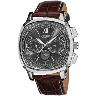 Akribos XXIV Men's Diamond Dual Time Swiss Quartz Leather Brown Strap Watch
