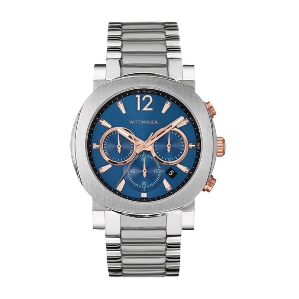 Wittnauer Blue Dial Rose Gold Accented Watch WN3005 -  Bulova