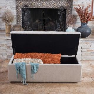 Abigail Dark Beige Fabric Storage Ottoman by Christopher Knight Home