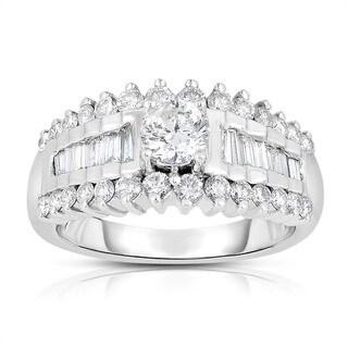 14k White Gold 1 1/10ct TDW Solitaire Brilliant Diamond Engagement Ring Ring (J-K. I1-I2)