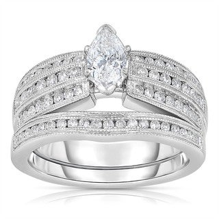 14k White Gold 1/6ct TDW One-Of-A-Kind Marquise Cut Solitaire Bridal Ring Set (H-I, I1-I2)