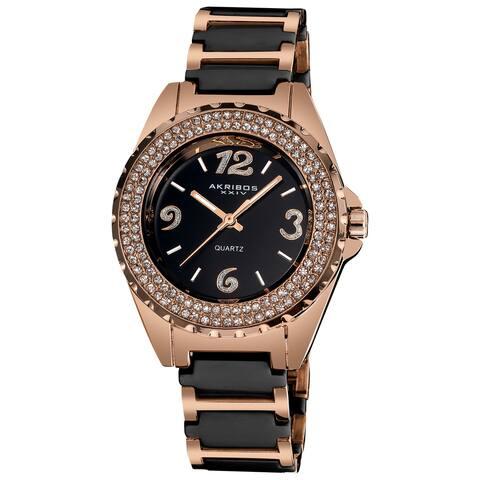 Akribos XXIV Women's Crystal-Accented Quartz Ceramic Two Tone Bracelet Watch