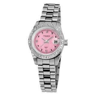 Akribos XXIV Women's Diamond Markers Quartz Stainless Steel Pink Bracelet Watch