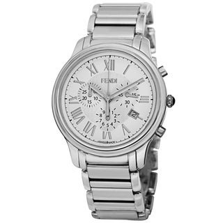 Fendi Men's F252014000 'Classico' White Dial Stainless Steel Chronograph Quartz Watch