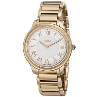 Fendi Men's F251414000 'Classico' White Dial Goldtone Stainless Steel Quartz Watch