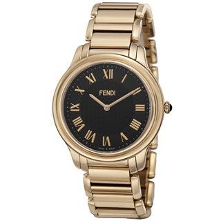 Fendi Men's F251411000 'Classico' Black Dial Goldtone Stainless Steel Bracelet Watch