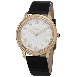 Fendi Men's F250414011 'Classico' White Dial Black Leather Strap Goldtone Watch