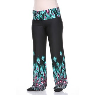 White Mark Women's Plus Size Peacock Print Palazzo Pants