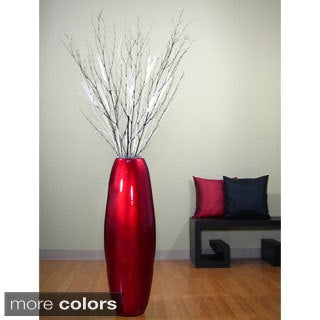 Red Lacquer Cylinder Vase with Branches