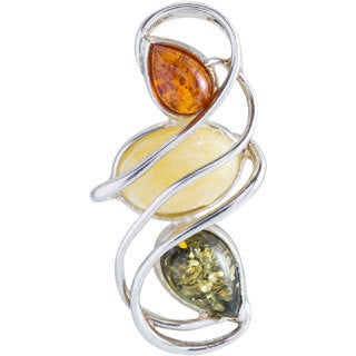 Kele & Co Sterling Silver Multi Amber Pendant