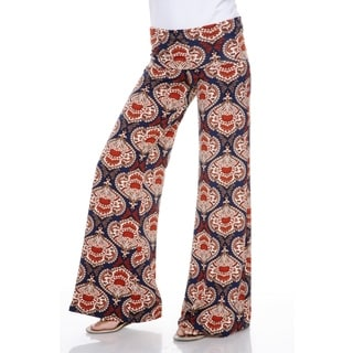 White Mark Women's Orange and Navy Damask Palazzo Pants
