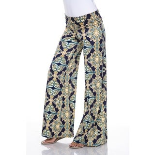 White Mark Women's Mosaic Style Palazzo Pants