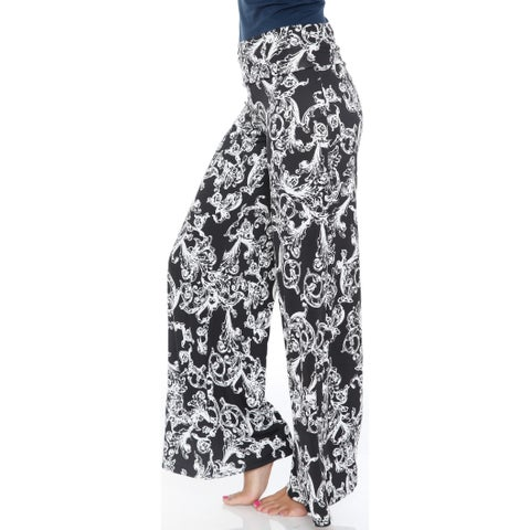 White Mark Women's Black and White Fleur de Lis Palazzo Pants
