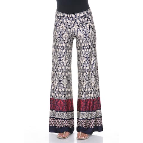 White Mark Women's Beige and Navy Moroccan Palazzo Pants