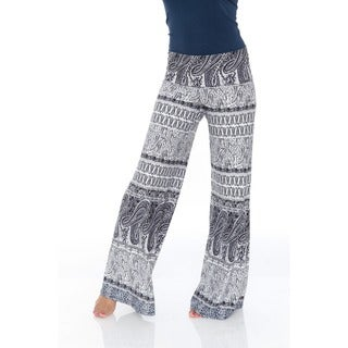 White Mark Women's Greystone Columns Paisley Palazzo Pants (4 options available)