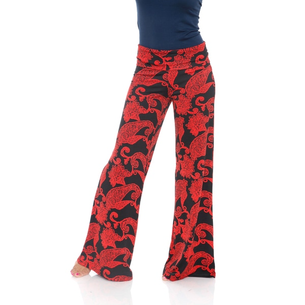 White Mark Women's Black and Red Paisley Palazzo Pants