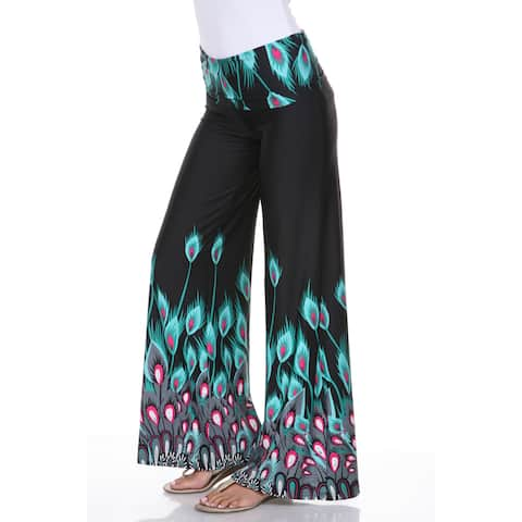 White Mark Women's 'Peacocks of a Feather' Palazzo Pants
