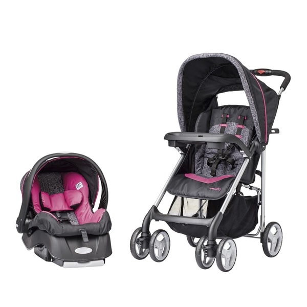 evenflo journeylite travel system with embrace in pink party free shipping today overstock. Black Bedroom Furniture Sets. Home Design Ideas