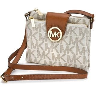 Michael Kors Fulton Large Vanilla Signature Crossbody Handbag