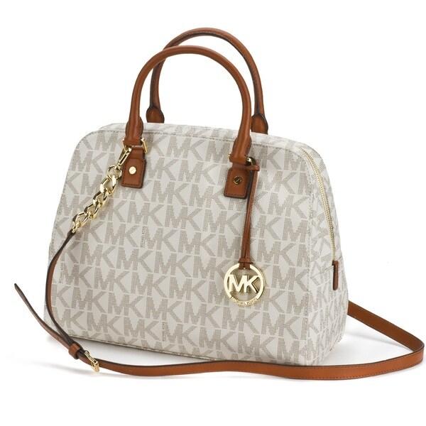 shop michael michael kors jet set travel signature large satchel rh overstock com