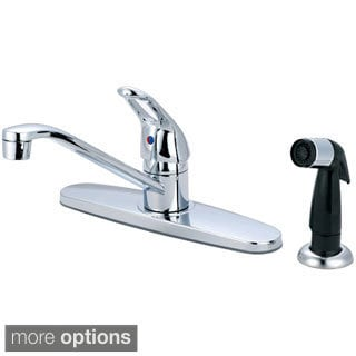 Olympia Series K-4171 Elite Single Handle Metal Loop Kitchen Faucet with Black Side Spray Assembly