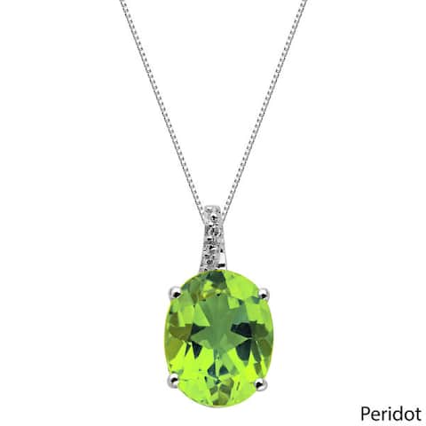 Oval Gemstone Birthstone Pendant in Sterling Silver with Diamond Accent Necklace