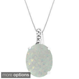 Oval Gemstone Birthstone Pendant in Sterling Silver with Diamond Accent Necklace (Option: May)